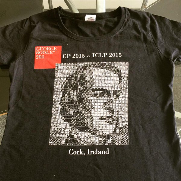 The conference swag: a George Boole Domino portrait adorns the participant t-shirt.