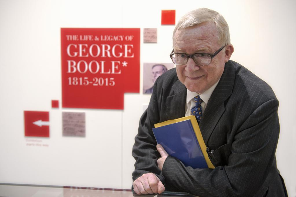 Professor Des MacHale attended the opening of the exhibition in the Boole Library.