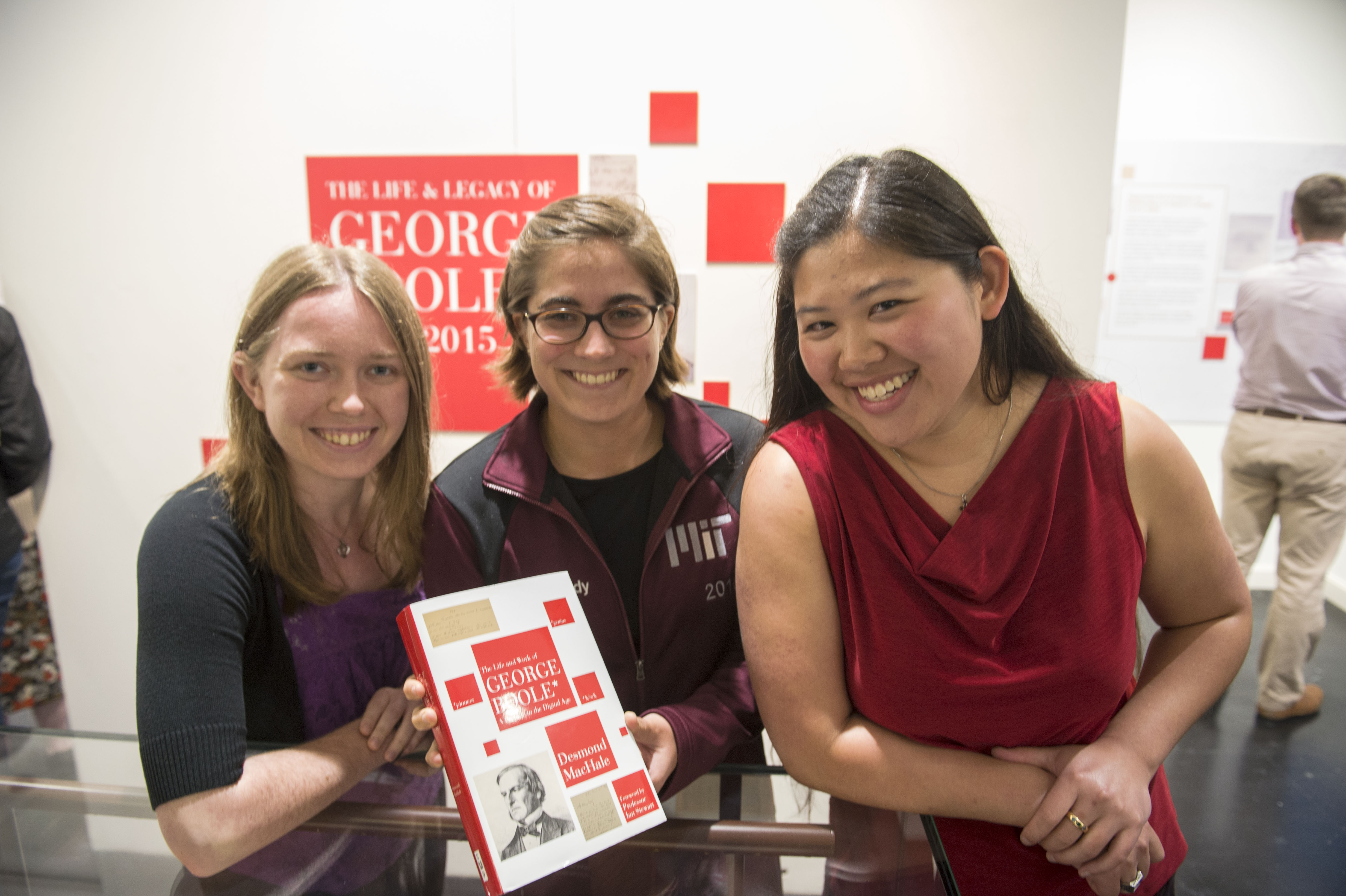 MIT students Laura Standley, Grace Cassidy and Emily Yue at the opening of UCC Library's exhibition, Life and Legacy of George Boole 1815 - 2015.
