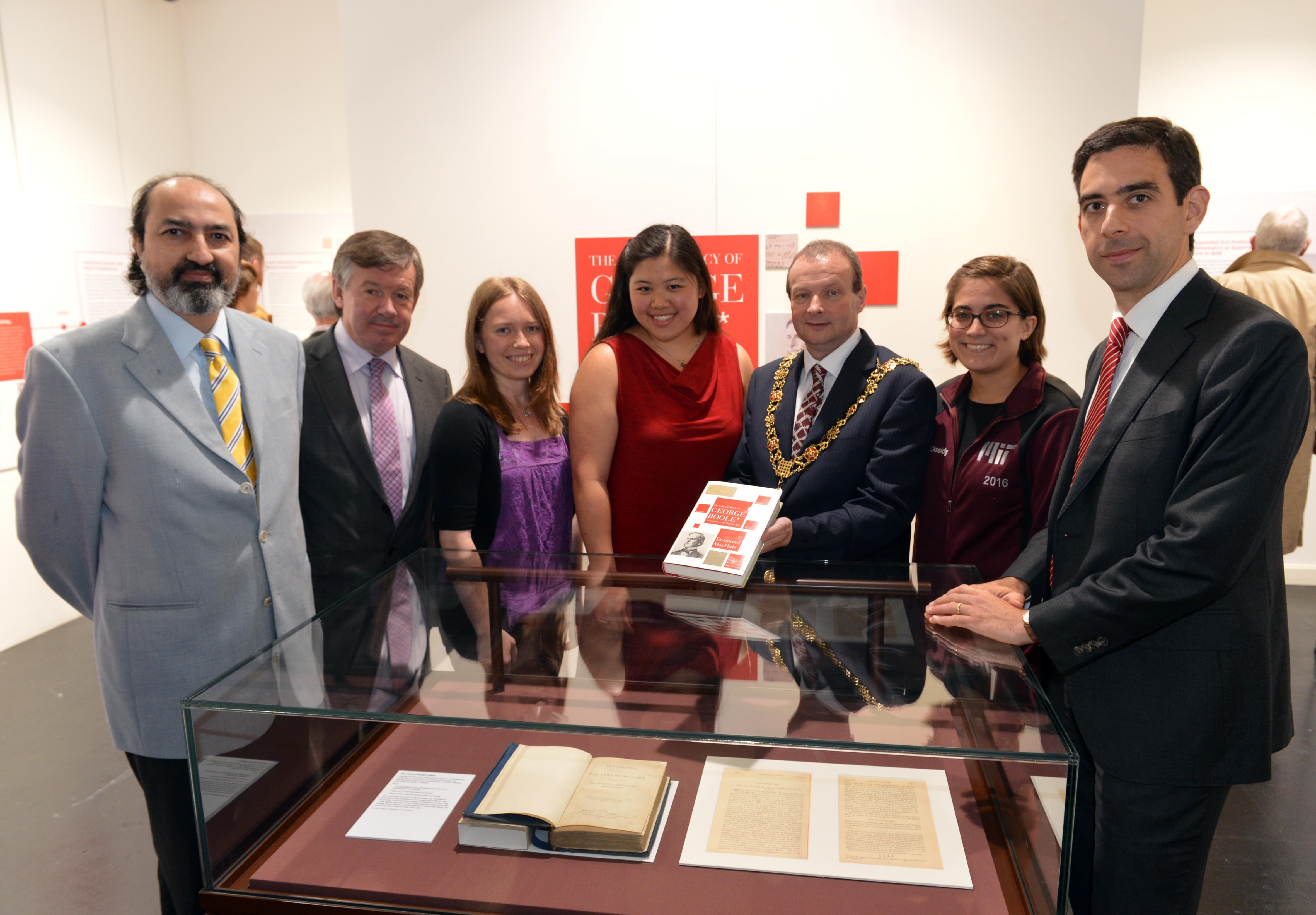 President of UCC Dr. Michael Murphy and Lord Mayor of Cork City Chris O'Leary speaking with MIT students Laura Standley, Grace Cassidy and Emily Yue, with Nabeel Riza (left) and DR padraig Cantillon-Murphy of UCC School of Engineering.