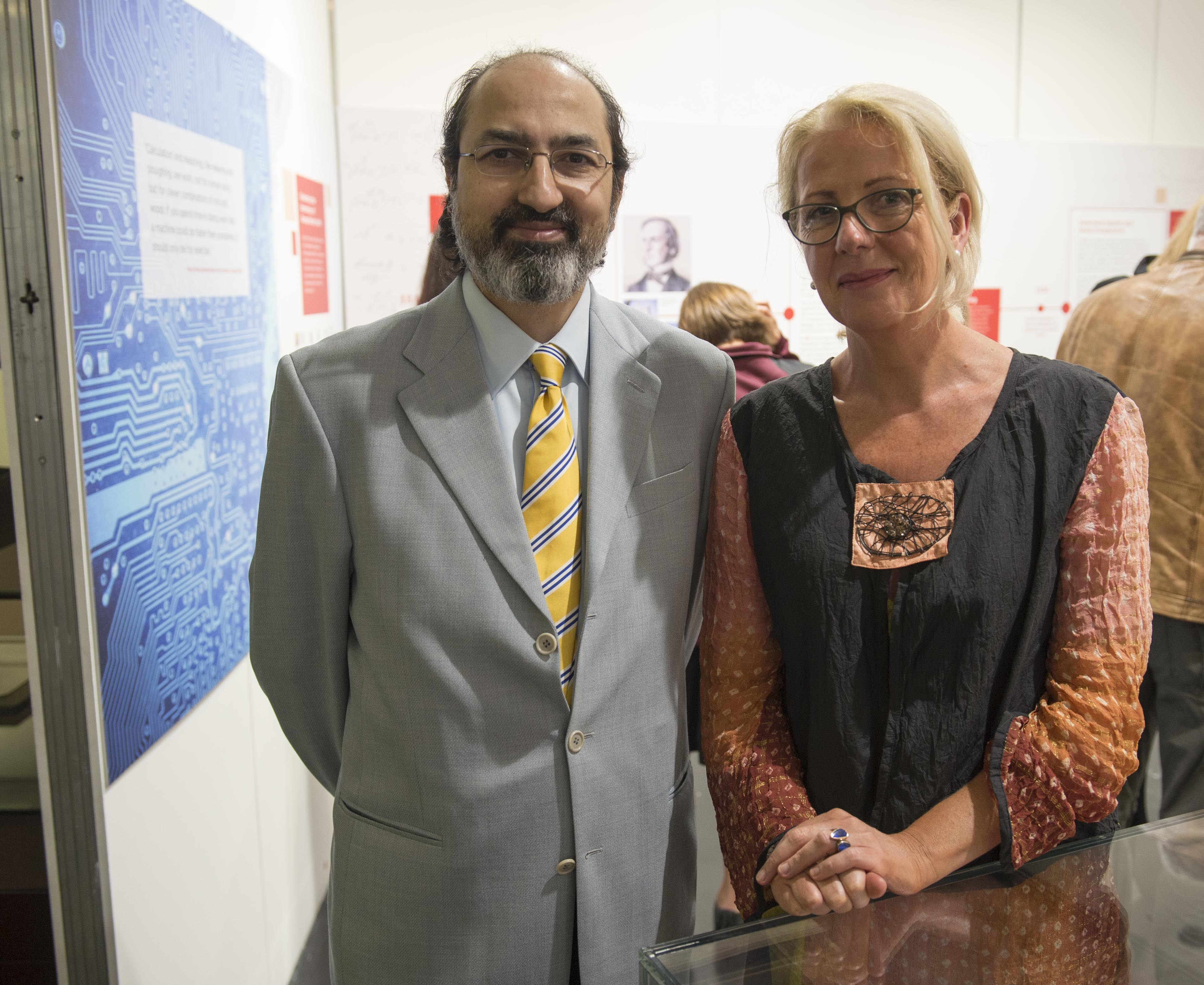 Nabeel Riza (left)  of UCC School of Engineering and Virginia Teehan, Dir. UCC Cultural Programmes at the opening of UCC Library's exhibition, Life and Legacy of George Boole 1815 -2015.
