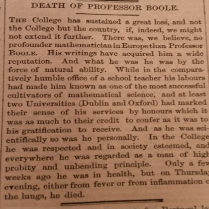 Death of Professor Boole, Queen's College.