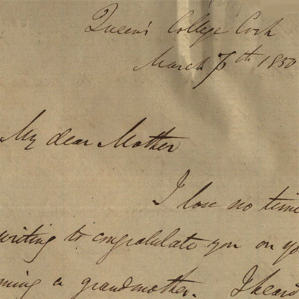 Letter written by George Boole to his mother, Mary Ann, in 1850