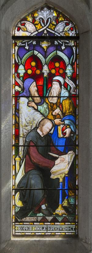 Faculty at this college collected funds to dedicate this stained glass window to their colleague, Boole. This wasn't the first or last campaign to preserve Boole's legacy.