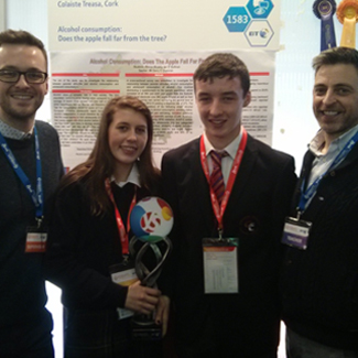 Pictured L-R: PhD candidate Martin Davoren with BT Young Scientist winners Eimear Murphy and Ian O'Sullivan from Coláiste Treasa in Kanturk, Co. Cork and their Science teacher Mr Derry O'Donovan (image via Martin Davoren)